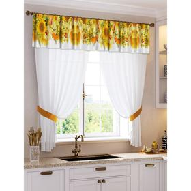 A set of curtains for the kitchen Agata tulle (294x160cm), lambrequin (290x40 cm), tie-backs, pe 100%