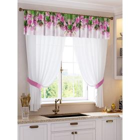 A set of curtains for the kitchen Natalya tulle (294x160cm), lambrequin (290x40 cm), hooks, pe 100%