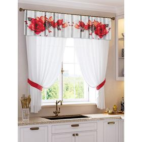 A set of curtains for the kitchen Bismarck tulle (294x160cm), lambrequin (290x40 cm), tie-backs, pe 100%