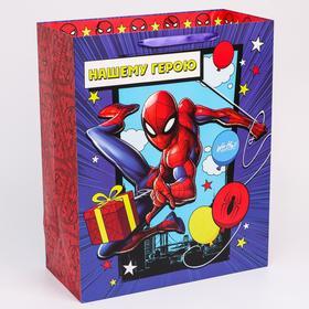 """Пакет ламинат вертикальный """"С Днем рождения"""", Человек-паук, 40х49х19 см"""
