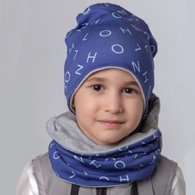 Шапка для мальчика, цвет серый/индиго, размер 50-54