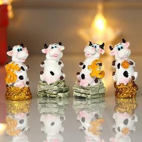 "Сувенир полистоун ""Пятнистая коровка с деньгами"" МИКС 5,5х2,7х2,2 см"
