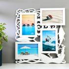 """Plastic photo frame for 4 photos 10x15 cm """"Fishing"""" white 37х34х2 cm"""