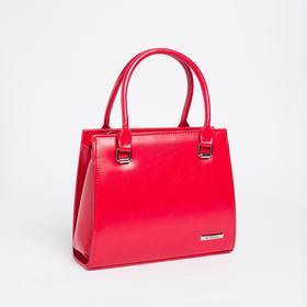 Сумка женская, отдел на молнии, длинный ремень, наружный карман, цвет красный
