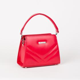 Сумка женская, отдел на молнии, наружный карман, длинный ремень, цвет красный - фото 53064