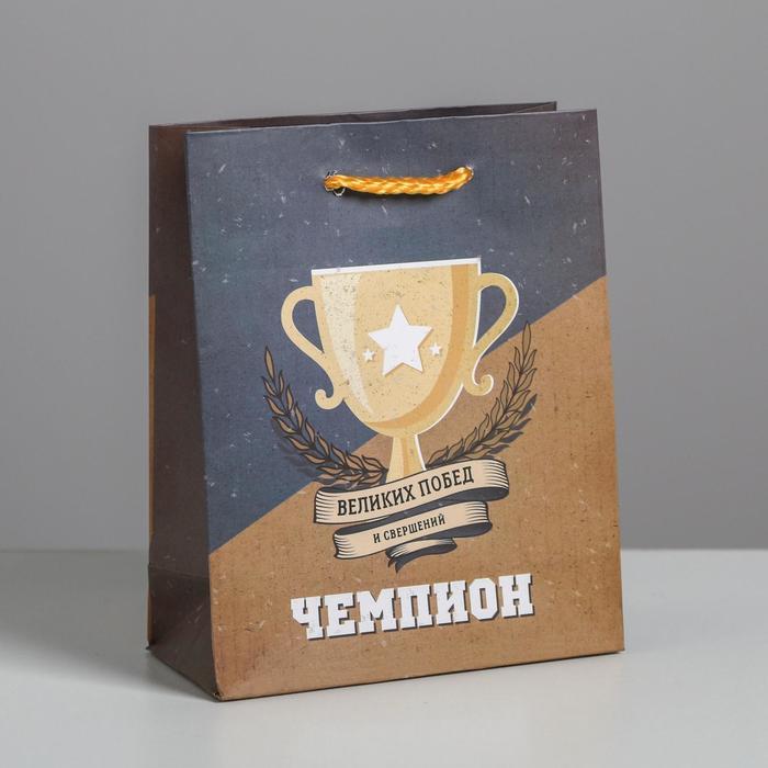 Пакет ламинированный вертикальный «Чемпиону», S 12 × 15 × 5.5 см - фото 915859