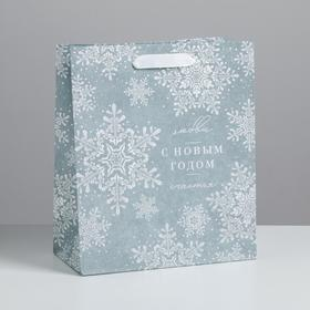 Пакет крафтовый вертикальный «С Новым годом», ML 23 × 27 × 11.5 см