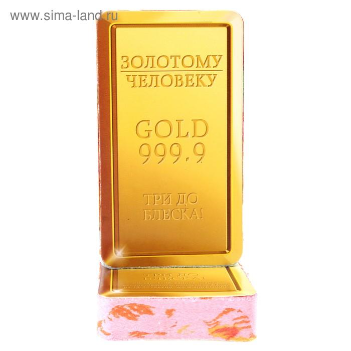 """Полотенце прямоугольное прессованное """"Золотому человеку"""", размер 28х60 см (изображение только на этикетке), цвет микс"""