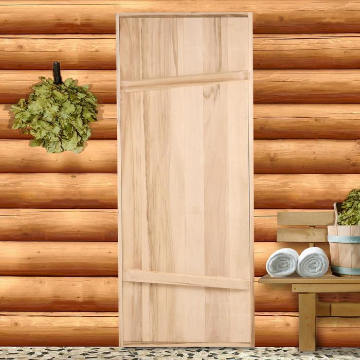 """Дверной блок для бани, 170×70см, из липы, на клиньях, массив, """"Добропаровъ"""""""
