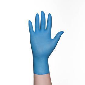 Перчатки хозяйственные нитрил, размер S, 100 шт, цвет голубой
