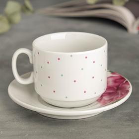 """Чайная пара 220 мл кружка, 14 см блюдце  """"Розы и пионы"""""""