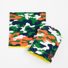 Комплект детский (шапка,снуд), цвет милитари, размер 41-44 см (6-9 мес.)