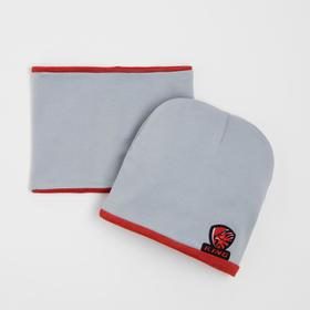 Комплект детский (шапка,снуд), цвет серый, размер 44-47 см (9-18 мес.)