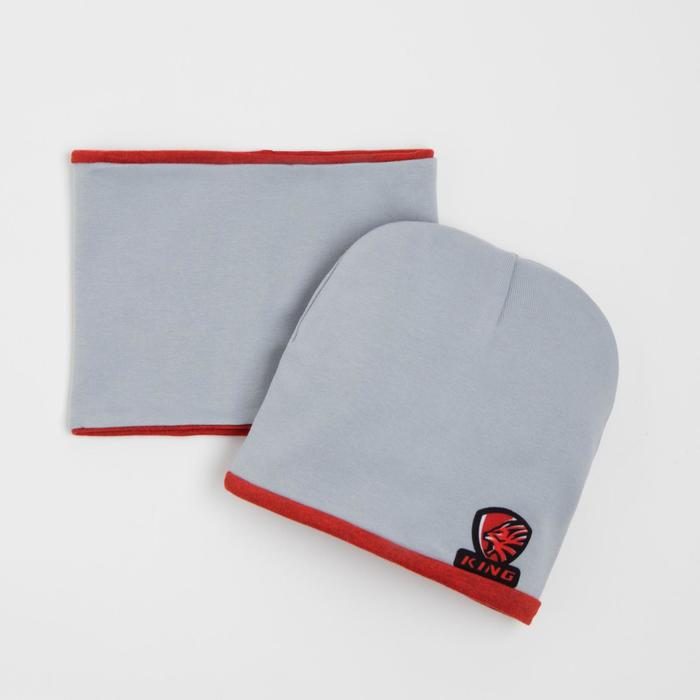 Комплект детский (шапка,снуд), цвет серый, размер 44-47 см (9-18 мес.) - фото 105567559