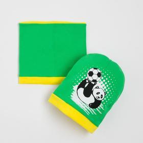 Комплект детский (шапка,снуд), цвет зеленый, размер 41-44 см (6-9 мес.)