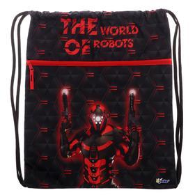 """Мешок для обуви с карманом 490*410 Оникс МО-27-4р, мал, """"Робот красный"""" 63353"""