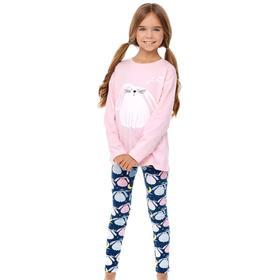 Пижама для девочки, рост 122 см, цвет розовый, тёмно-синий
