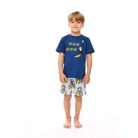 Пижама для мальчика, рост 128 см, цвет синий, серый