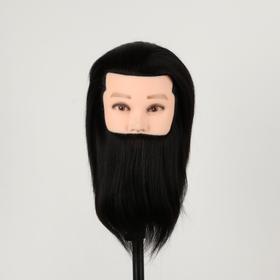 Head training MEN's black 100% natural hair -18cm.