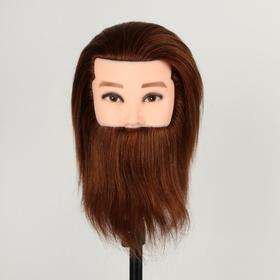 Head training MEN's dark brown 100% natural hair - 20cm.