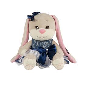 Мягкая игрушка «Зайка Lin» в сине-белом платье с бантом, 25 см