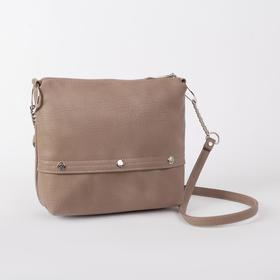 Кросс-боди, отдел на молнии, наружный карман, длинный ремень, цвет светло-коричневый