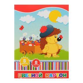 Картон цветной А4, 8 листов, 8 цветов Action!, немелованный, папка с одним клапаном