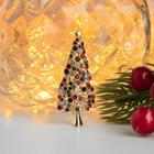 """Брошь """"Ель рождественская"""", цветная в золоте - фото 3633889"""