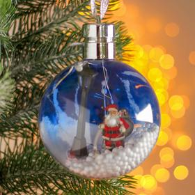 """Christmas ball with a wooden figurine and the illuminated """"Santa Claus"""" 10x10 cm"""