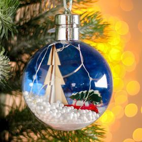 Новогодний шар с деревянной фигуркой и подсветкой «Машина и ёлка» 10х10 см