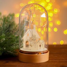 Настольный декор с подсветкой «Дом и снеговик» 19х10х10 см