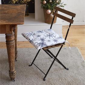"Сидушка на стул ""Синие снежинки"" 42х42х5 см, 100% хлопок, 164 г/м2"