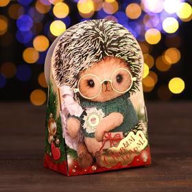 """A cardboard box """"Hedgehog team"""", 12 x 6.6 x 14.4 cm"""