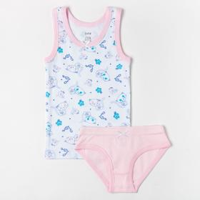 Комплект (майка, трусы) для девочки, цвет белый/светло-розовый, рост 122 см