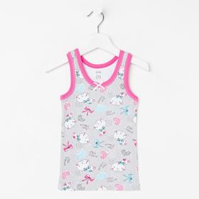 Майка для девочки, цвет серый/розовый, рост 122 см