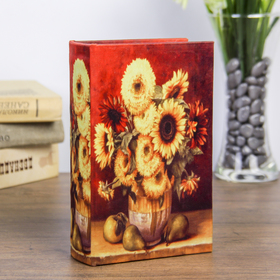"Safe-book ""still life with sunflowers"" upholstered in silk"