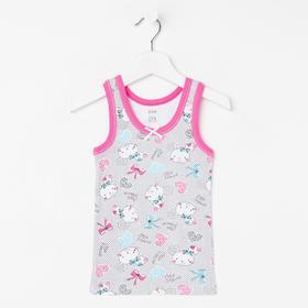 Майка для девочки, цвет серый/розовый, рост 110 см