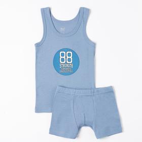 Комплект (майка, трусы) для мальчика, цвет синий, рост 128 см