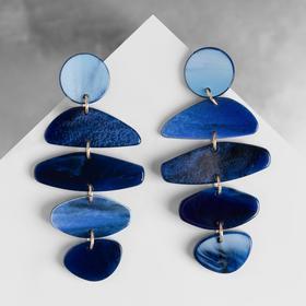 """Earrings plastic """"Maya"""" asymmetry, color dark blue"""