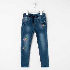 Джинсы для девочек, синий, рост 104 см