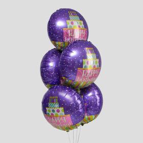 """Шар фольгированный 18"""" «С днём рождения!», торт, набор 5 шт."""