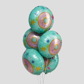 """Шар фольгированный 18"""" «Пончик», круг, набор 5 шт."""