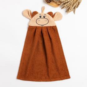 """Полотенце-рушник махровый """"Бычок"""" 43х35см, коричневый, хл100%, 300 г/м"""