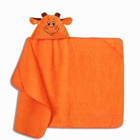 """Полотенце-накидка махровое """"Бычок"""" 75х125см, оранжевый, хл100%, 300 г/м"""
