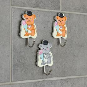 Набор крючков на липучке «Мышки, котики», 3 шт, рисунок МИКС