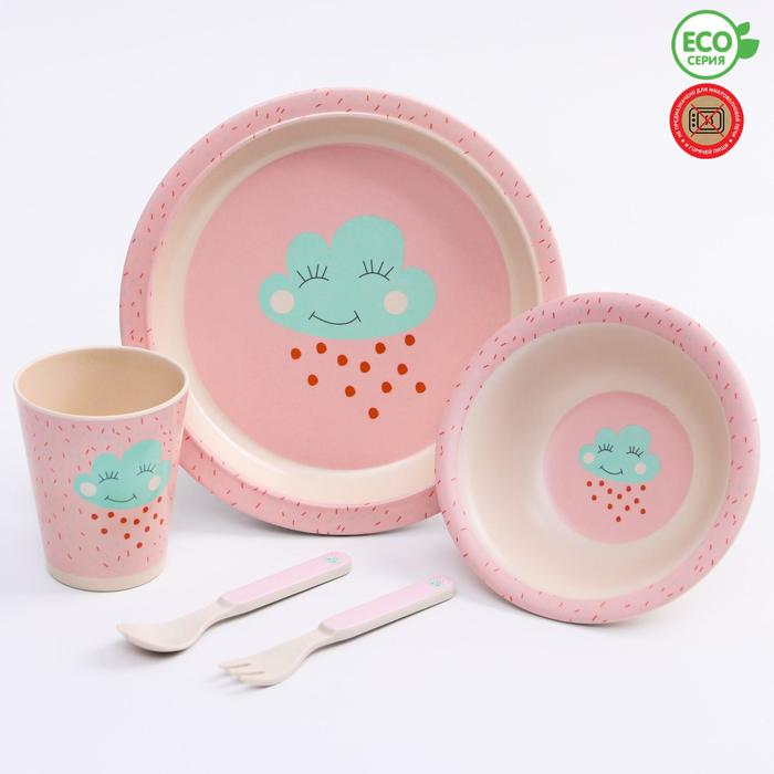 Набор бамбуковой посуды «Облачко», 5 предметов: тарелка, миска, стакан, вилка, ложка - фото 105458686