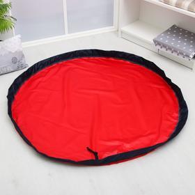 Развивающий коврик - сумка для игрушек, красный, борт синий, d120