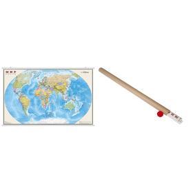 Карта Мир Политическая 1:15М ламинированная на рейках в картонном тубусе ОСН1224077