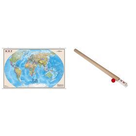 Карта Мир Политическая 1:35М ламинированная на рейках в картонном тубусе ОСН1224080