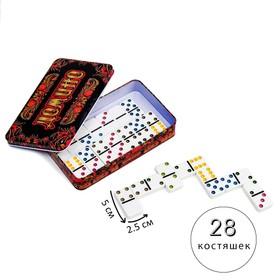 """Домино """"Хохлома"""", 19.2х11.8х3.5 см, костяшка 4.8х2.4 см"""